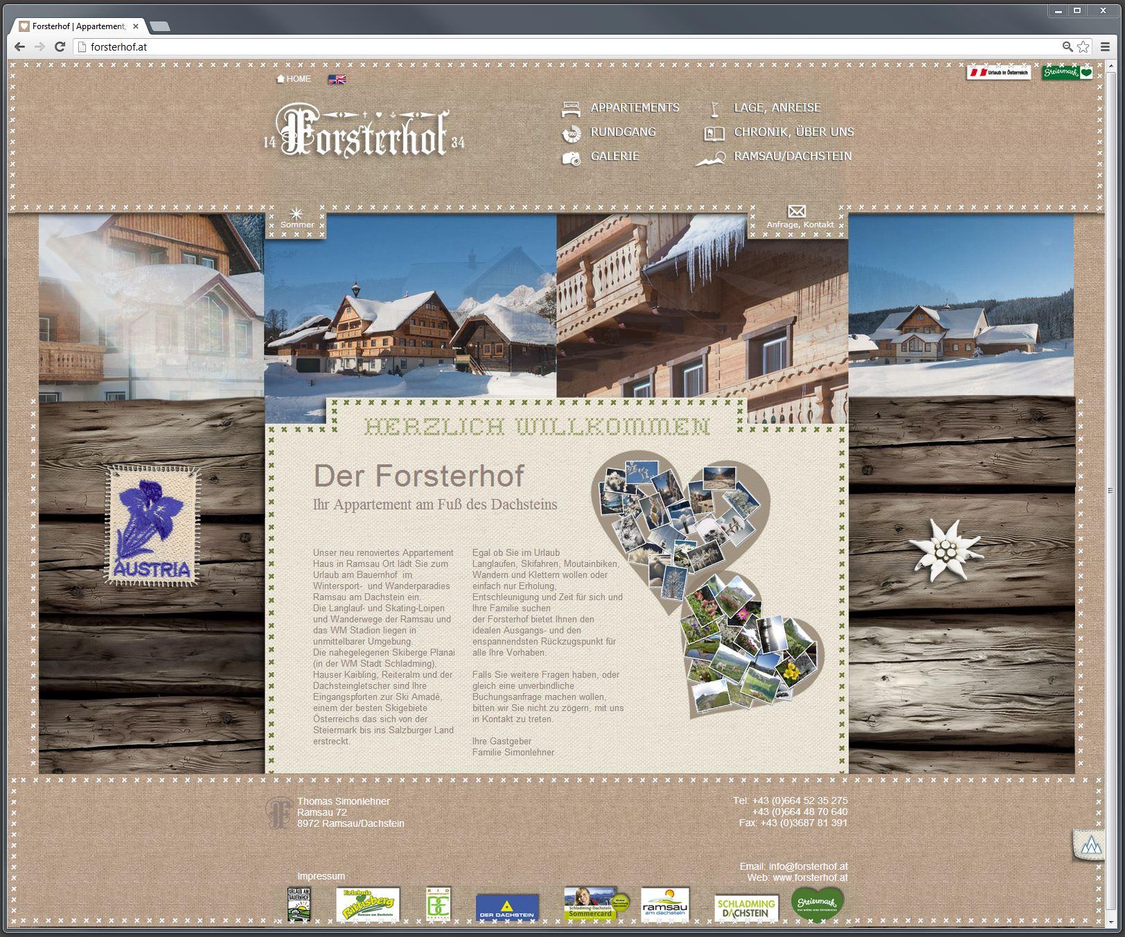 Forsterhof Appartements – Website