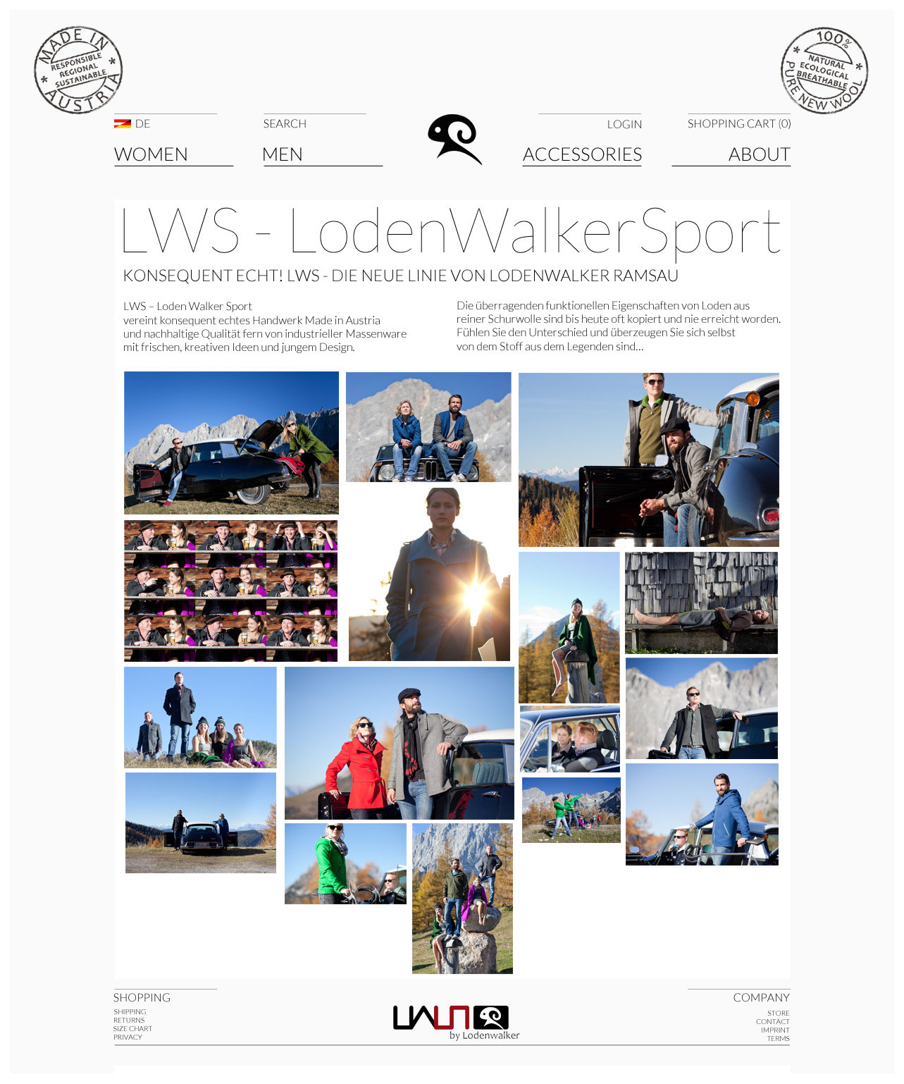 Webshop lodenwalker.com – Screendesign
