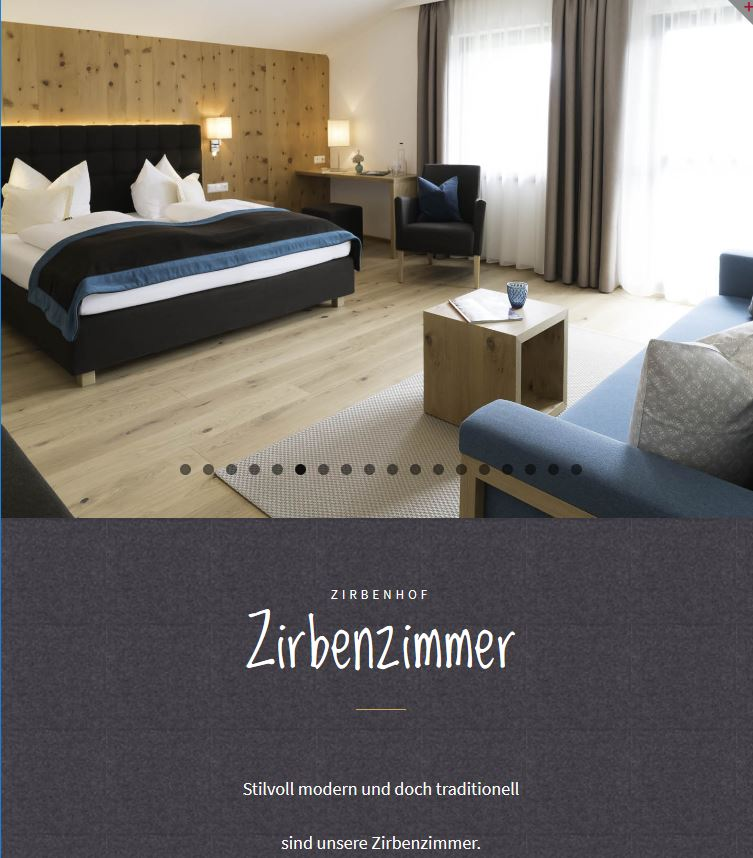 Zirbenhof Ramsau -Website