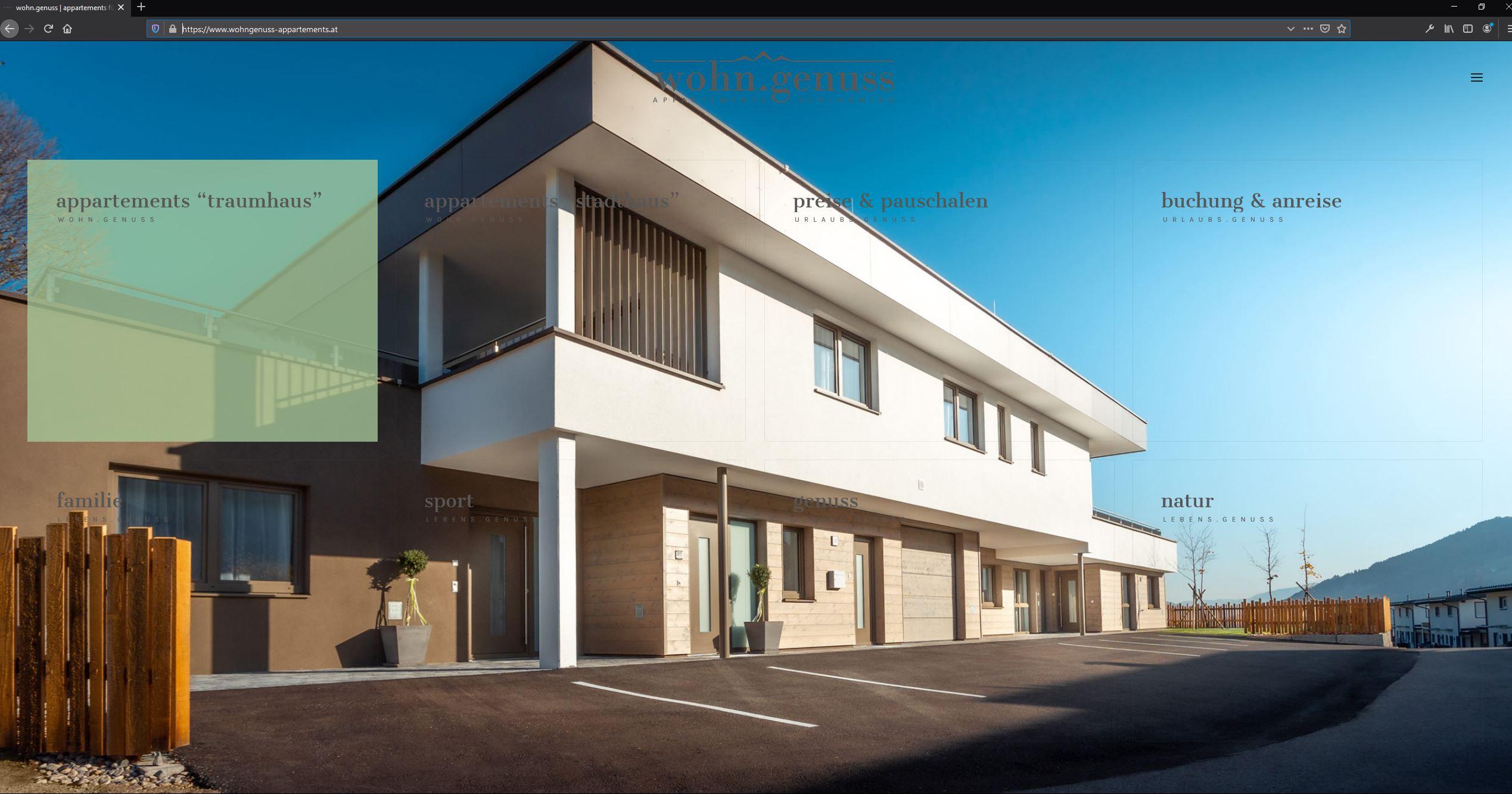 wohn.genuss appartements – Website
